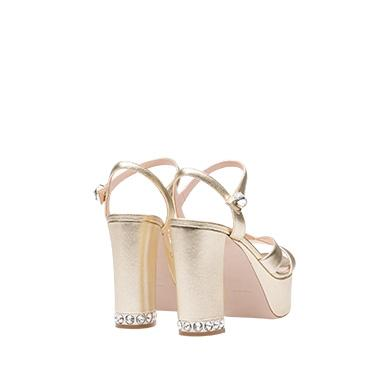 e6604e57f33 Metallic Leather Ankle-Strap Platform Sandals in Gold