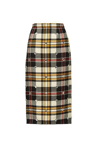 c4c8664d0 Miu Miu Virgin Wool Ricamo Plaid Midi Skirt In White   ModeSens