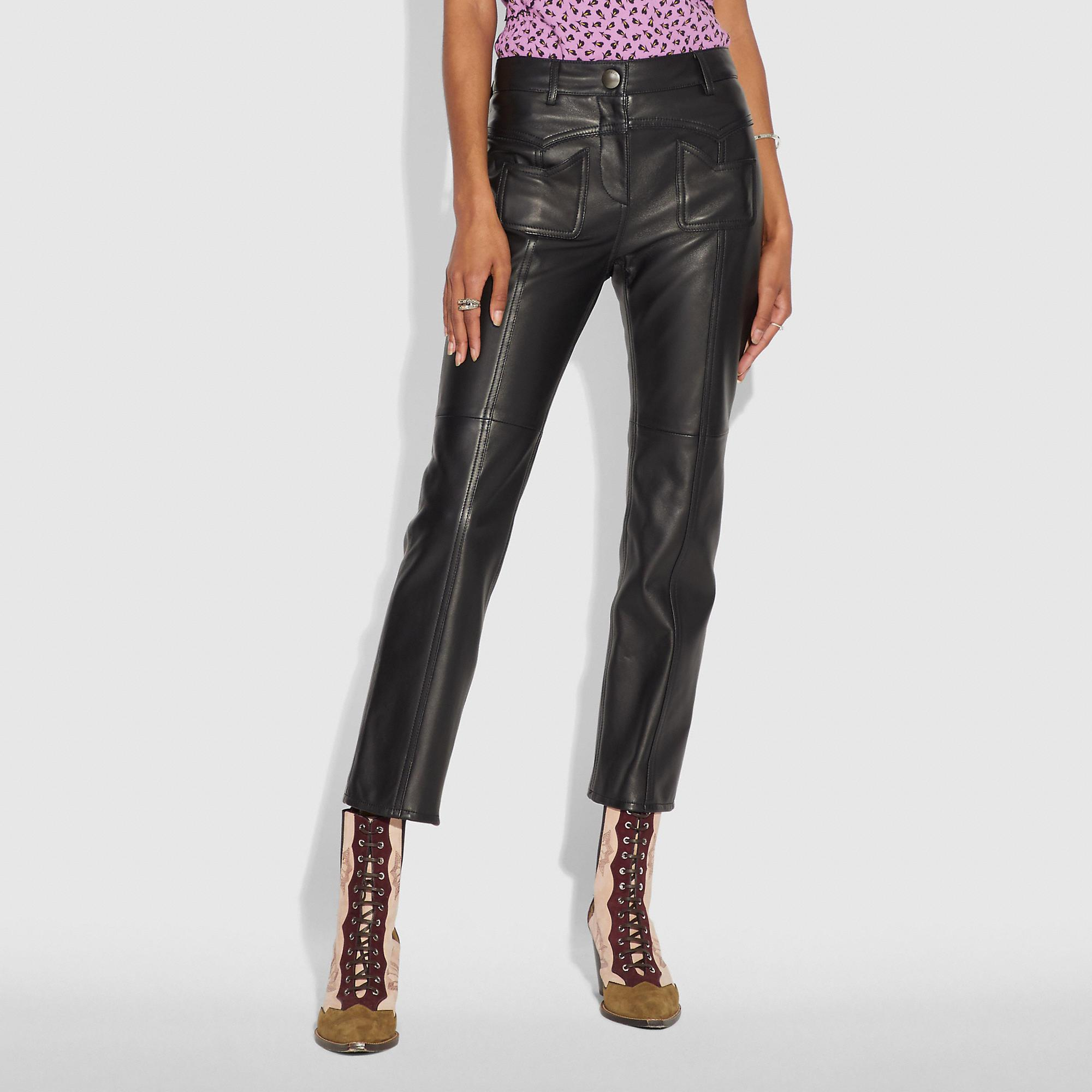 391950fe75d8 Coach Straight-Leg Cropped Leather Pants In Black