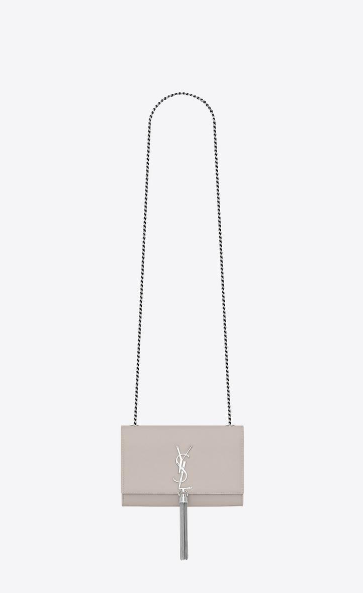 84ed1049865e Saint Laurent Kate Small With Tassel In Grain De Poudre Embossed Leather In  Icy White