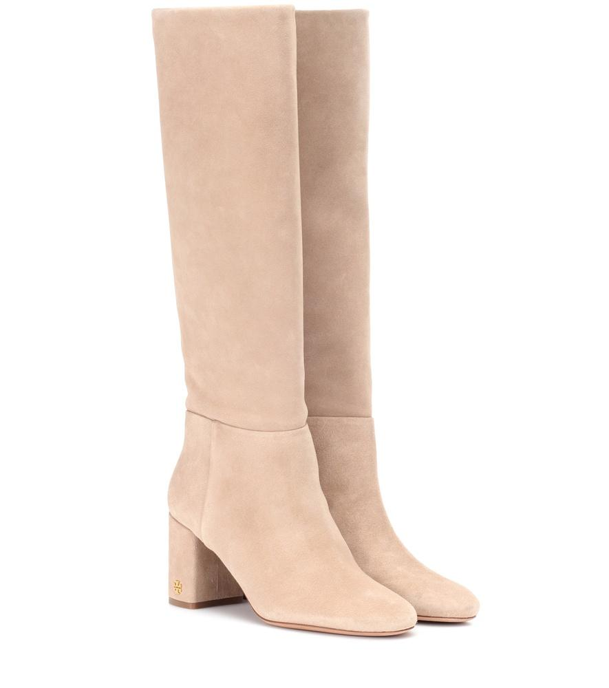af983fc994d6 Tory Burch Brooky Suede Boots In Beige