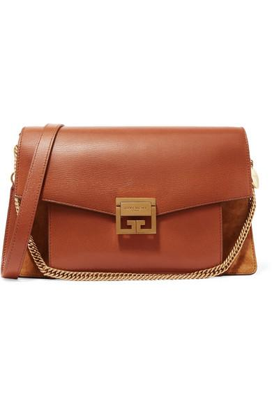 15accaeaa1f Givenchy Gv3 Medium Textured-Leather And Suede Shoulder Bag In Tan ...