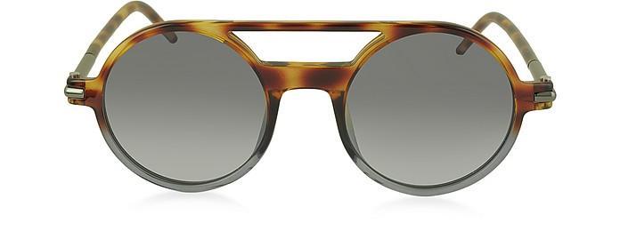 bfa21fc7fcfb Marc Jacobs Marc 45/S Acetate Round Aviator Women's Sunglasses In Havana/ Shaded  Black