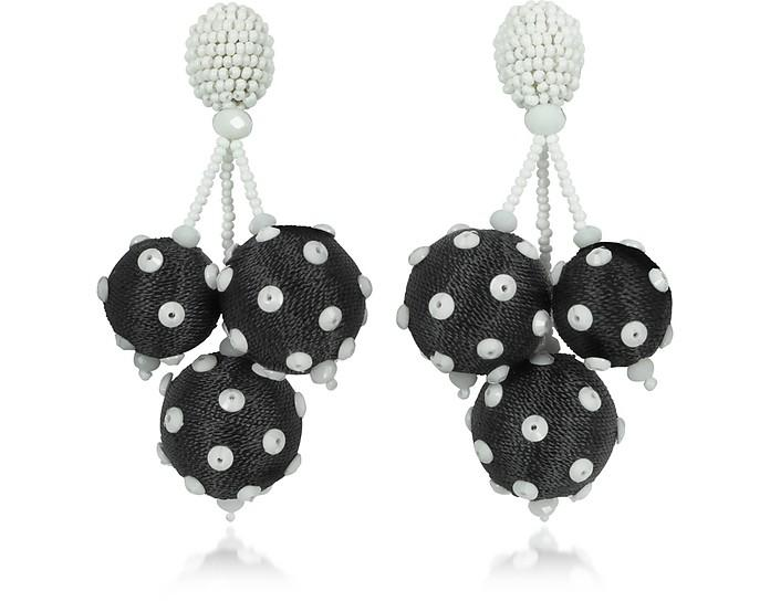 Polka Dot Sequin Triple Ball Clip On Earrings In Black White