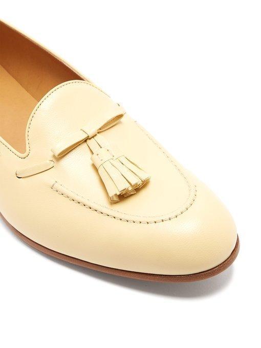 0f92ffc21 Gucci Leather Tassel Loafers In Cream In Neutrals | ModeSens