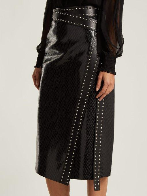 70824eee1b Alexander Mcqueen Python-Embossed Lamb-Leather Midi Wrap Skirt W/ Studs In  Black
