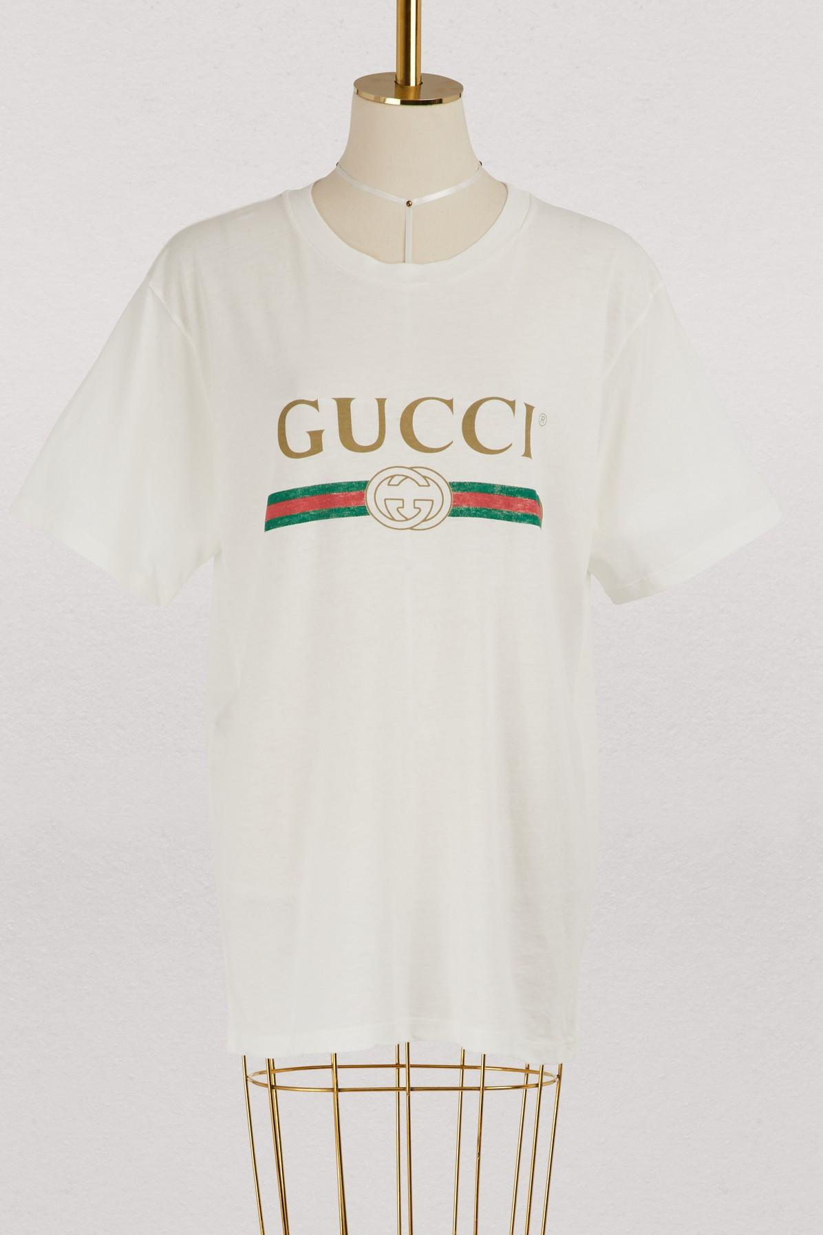 710522b6362b Gucci Women's Faded Logo Floral Embroidered T-Shirt In White In 9234  Natural White/