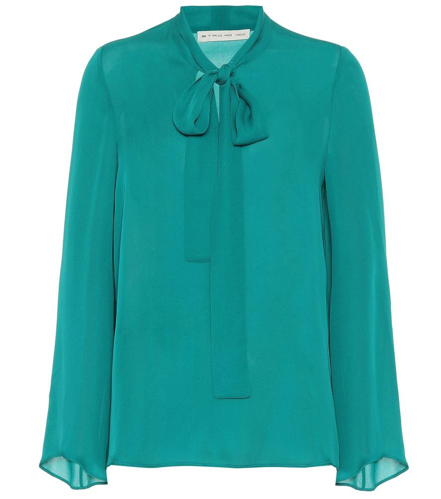 d5c86132b76896 Etro Silk Pussy-Bow Blouse In Green