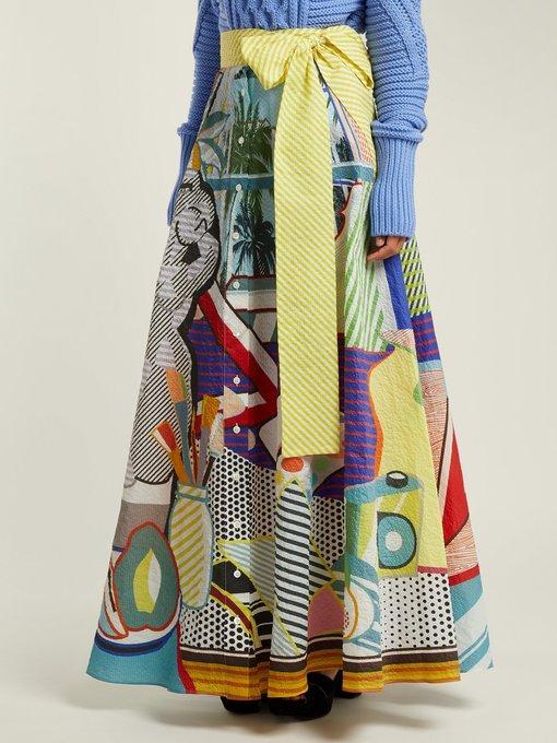 a828ba08ea Mary Katrantzou Camilla Belted Printed Seersucker Maxi Skirt In Multicolour
