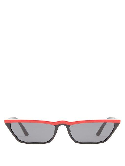 ae3c90dfc9e1 Prada Eyewear - Cat Eye Acetate Sunglasses - Womens - Black Red ...