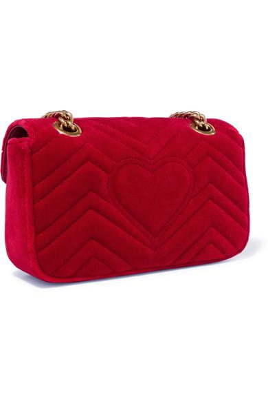 12cff475e63 Gucci Gg Marmont Small Quilted-Velvet Cross-Body Bag In Red
