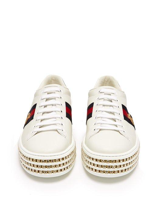 8f0660716b2 Gucci New Ace Crystal Bee-Embroidered Leather Sneakers In White ...