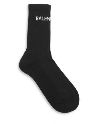 Balenciaga Intarsia Stretch Cotton-Blend Socks - Black