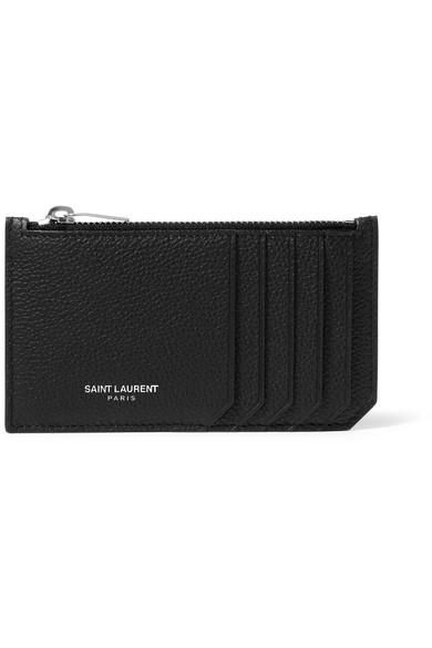 bdab53624c2 Saint Laurent Fragments Zipped Card Case In Grained Leather In Black ...