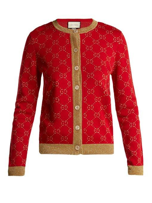 ab45591fe75af Gucci - Gg Jacquard Knit Cotton Blend Cardigan - Womens - Red