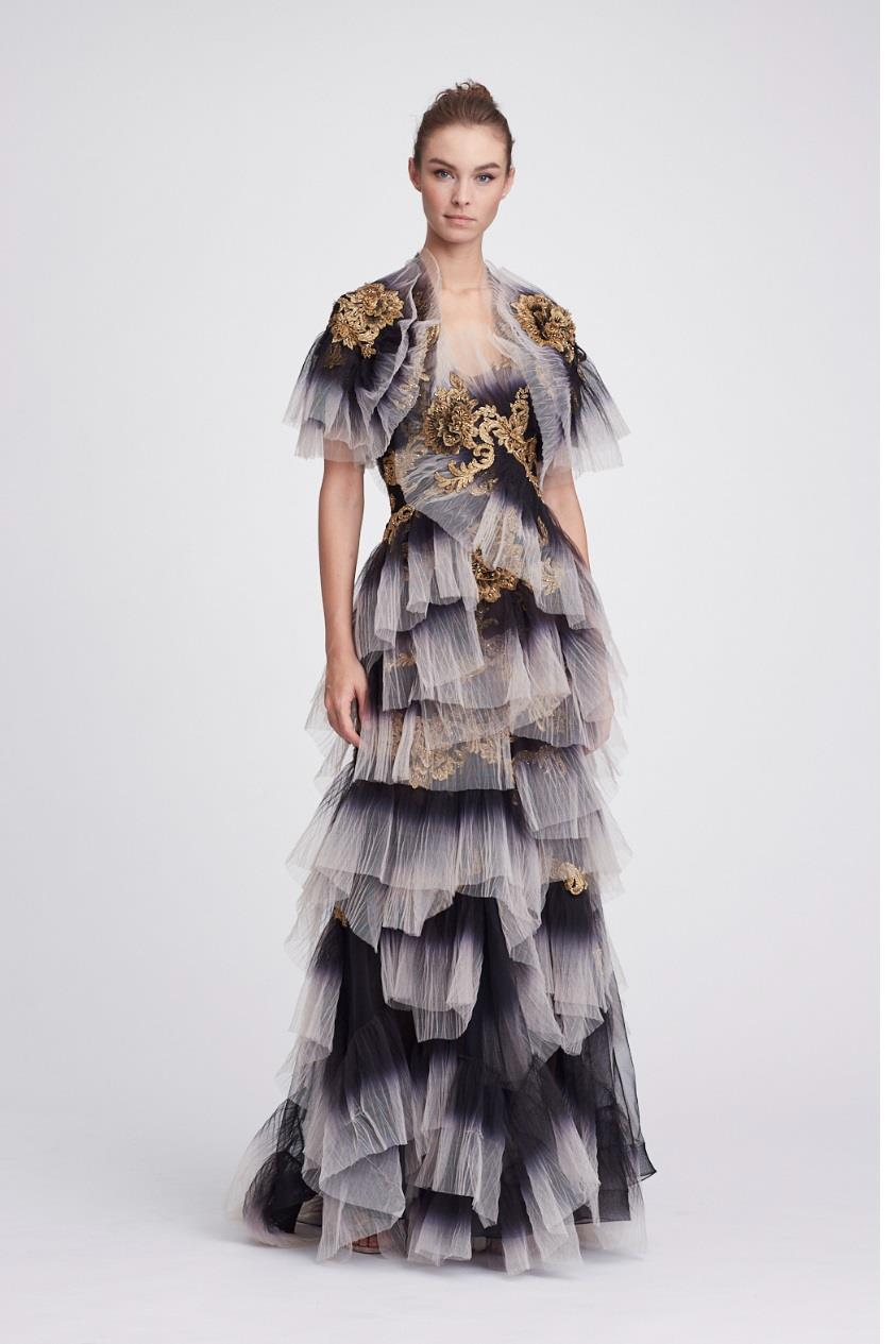 9c2a0c88 Marchesa Resort 2018-19 Couture Strapless Ombre Evening Gown In Black