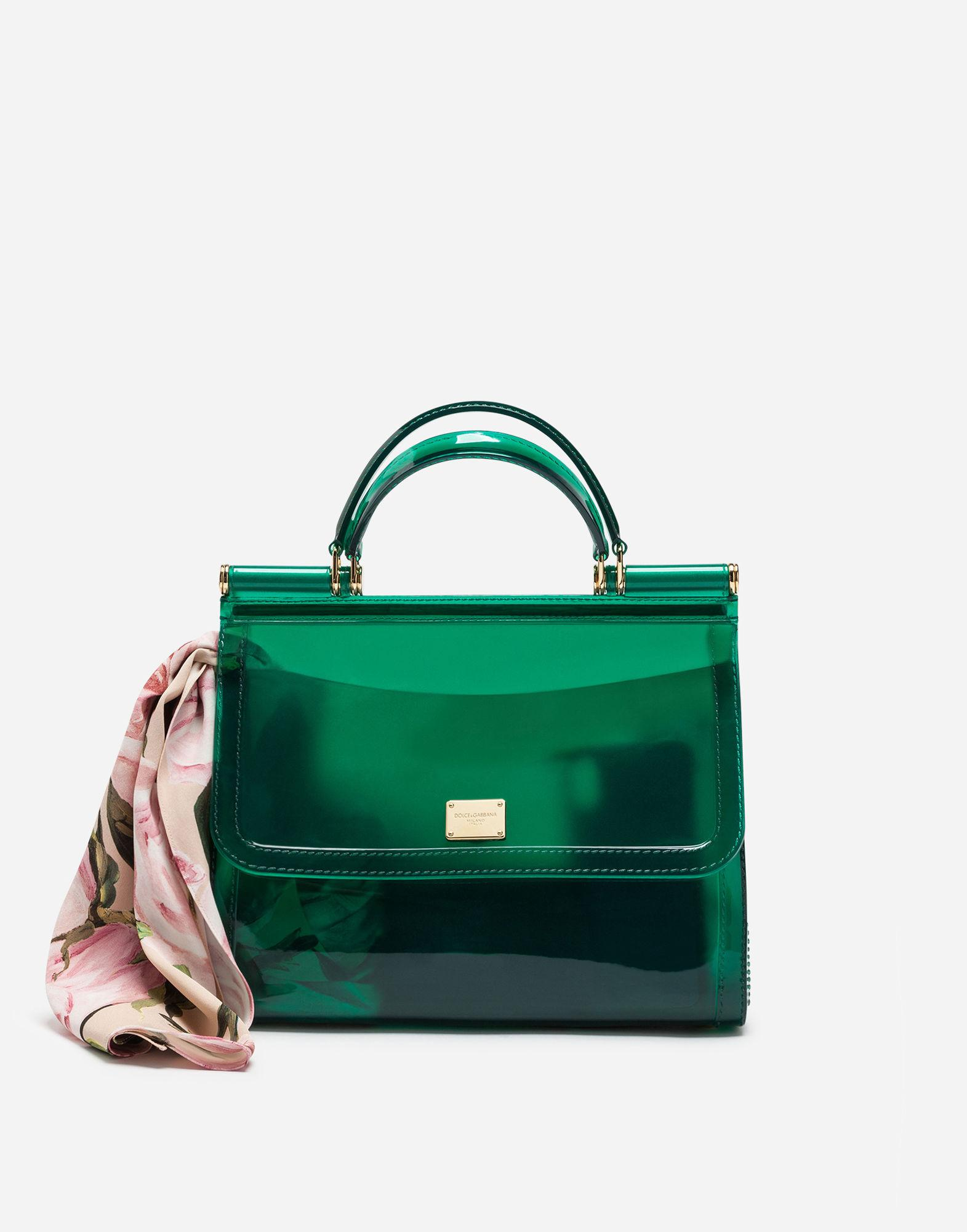 Dolce   Gabbana Sicily Large Plus Gomma Plexi Top-Handle Bag In Green b9e0dfd72b722