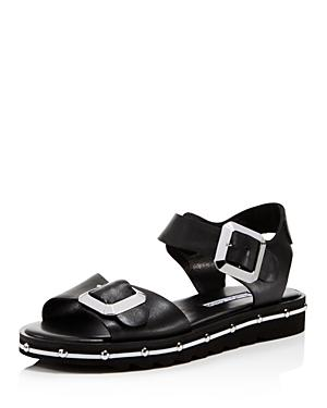 Spy Strap Women's Leather Ankle Black Sandals In 76fYbgImyv