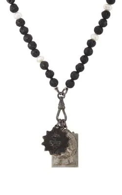 61e95056e07 Miracle Icons Vintage-Icon Lava Bead & Pearl Necklace - Black   ModeSens