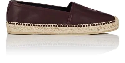 Saint Laurent Logo-Embroidered Leather Espadrilles In Wine