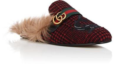 Gucci Princetown Double G Loafer Mule With Genuine Shearling In Red