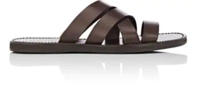 c381034b0ff1 Barneys New York Leather Slide Sandals - Dk. Brown Size 11 M In Dk ...