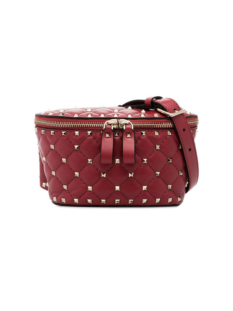 8bdfdbda3e1 Valentino Rockstud Spike Nappa Leather Belt Bag In Red | ModeSens