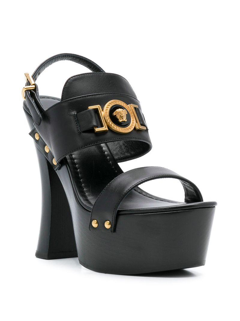 70f374aa95e Versace Icon Platform Leather Sandals In Black
