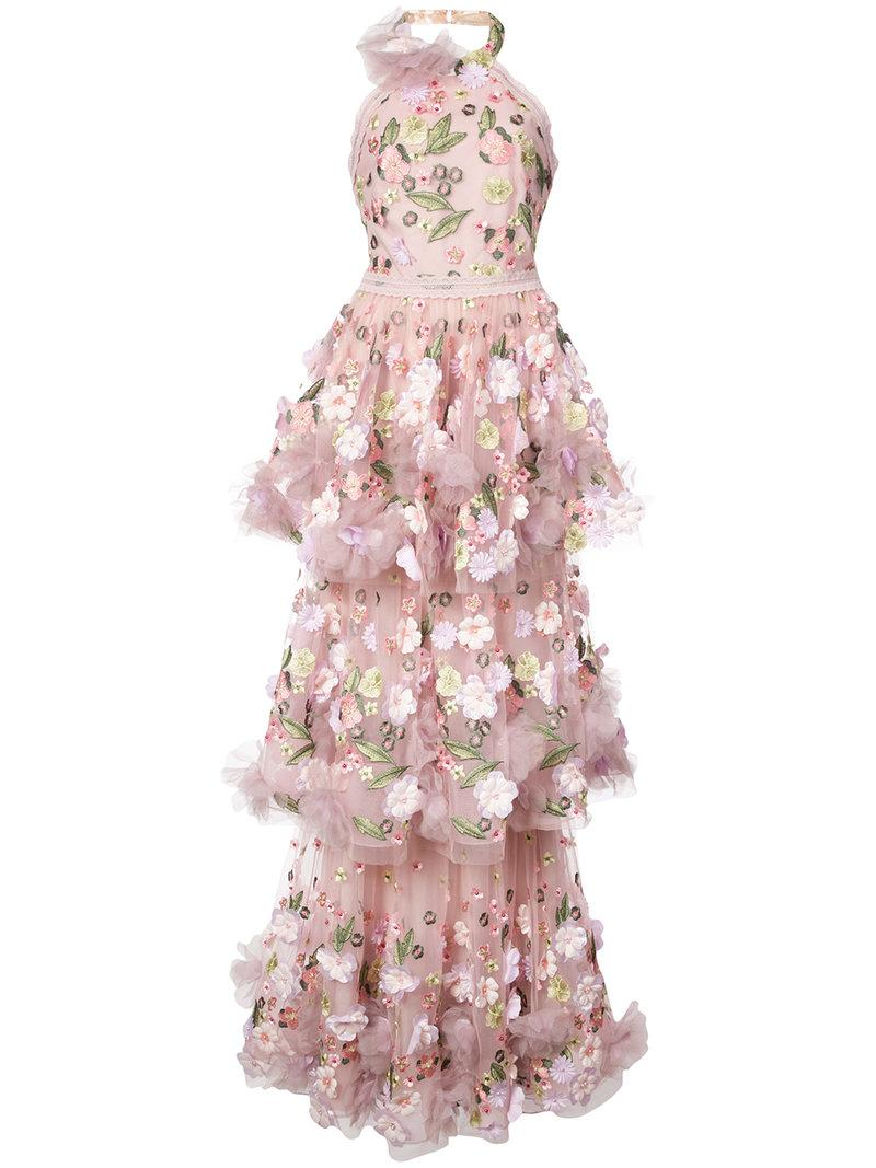 0ba7c7e5ab9 Marchesa Notte Floral-AppliquéD Tiered Ruffled Gown - Farfetch In Pink