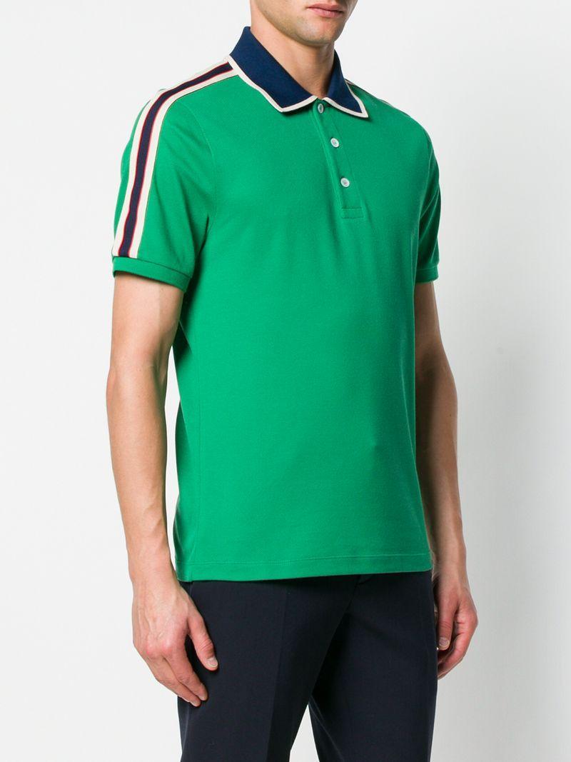 4e5d8e58d Gucci Jacquard Stripe Sleeve Pique Polo In Green