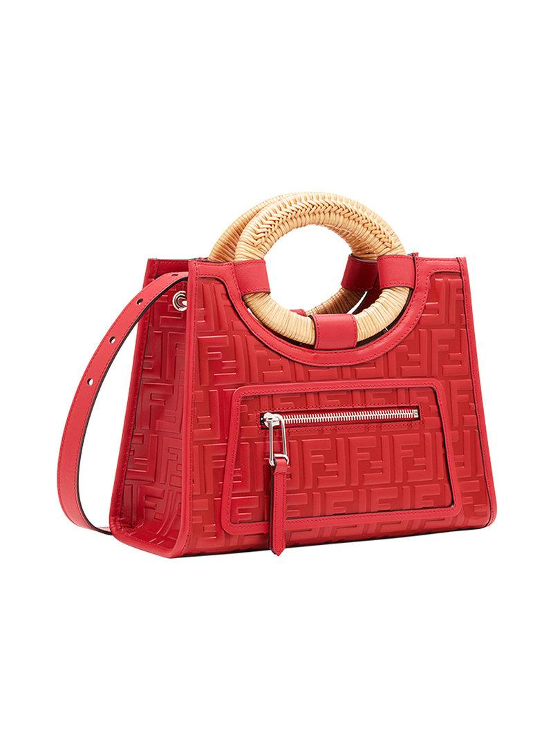 95460cdff10 Fendi Runaway Small Ff Embossed Calf Shopping Tote Bag In Red | ModeSens