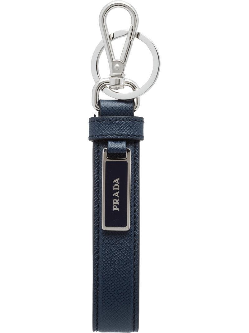 912ed7ba786b Prada Saffiano Logo Plaque Keychain - Blue | ModeSens