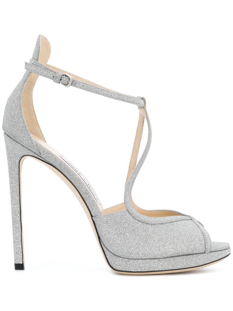 4a985f94246 Jimmy Choo Fawne 100 Silver Fine Glitter Leather Sandals In Metallic ...