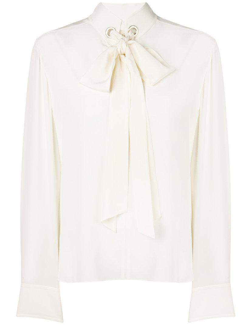 8f5c6142310ff5 ChloÉ Long-Sleeve Open-Neck Silk Crepe De Chine Blouse W  Ring Scarf ...