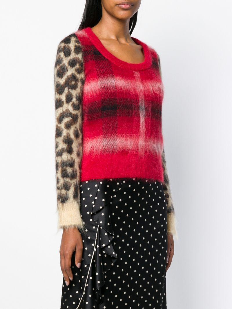 a1c70ff16da8 N°21 Nº21 Checked Leopard Printed Sweater - Red | ModeSens