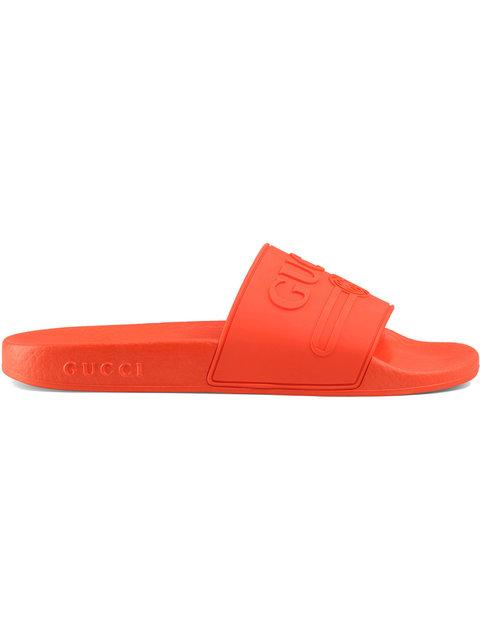 44040e16e12 Gucci Logo Rubber Slide Sandals - Farfetch In Yellow