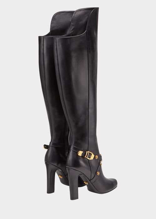 c839c6ee831 Versace Knee-High Tribute Heeled Boots In Black
