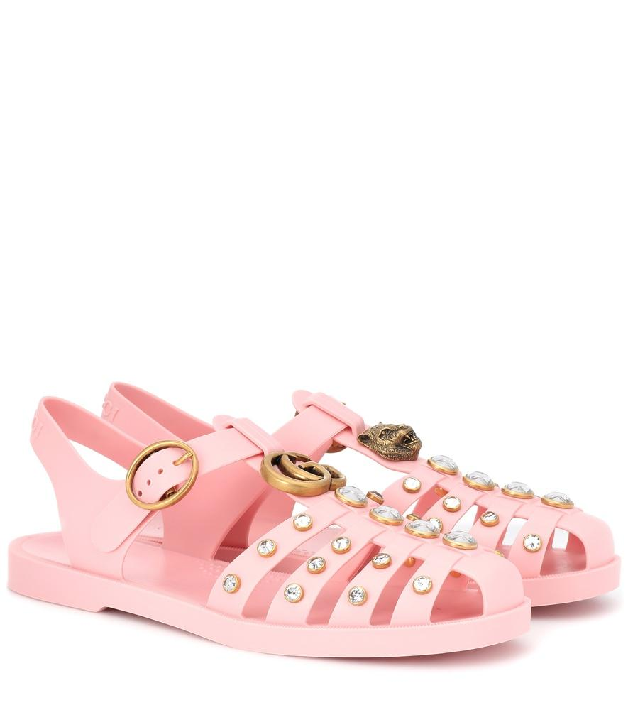 Gucci Marmont Crystal Embellished Fisherman Sandal In Pink