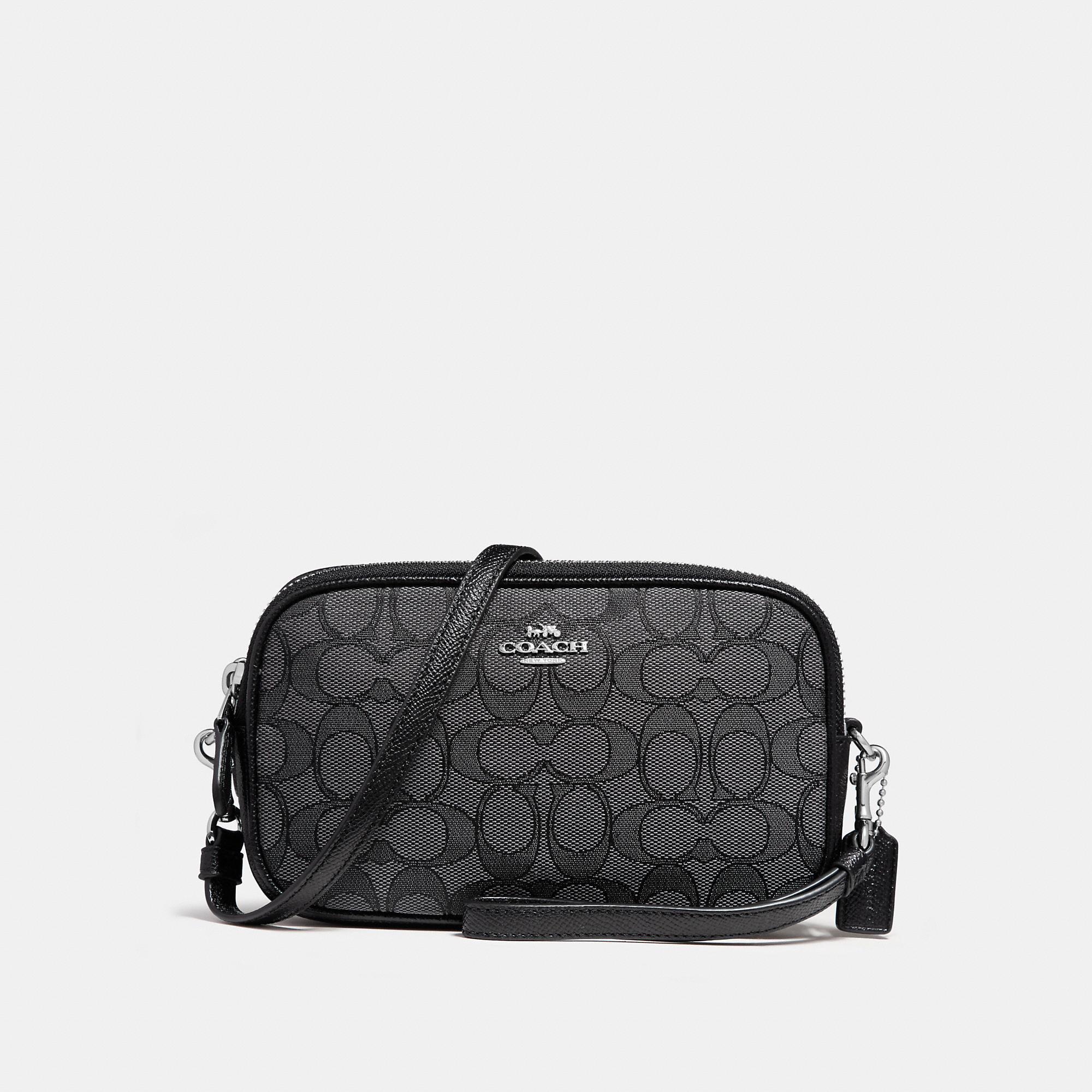 COACH Womens Boxed Small Wristlet Bag Signature Jacquard Black Smoke