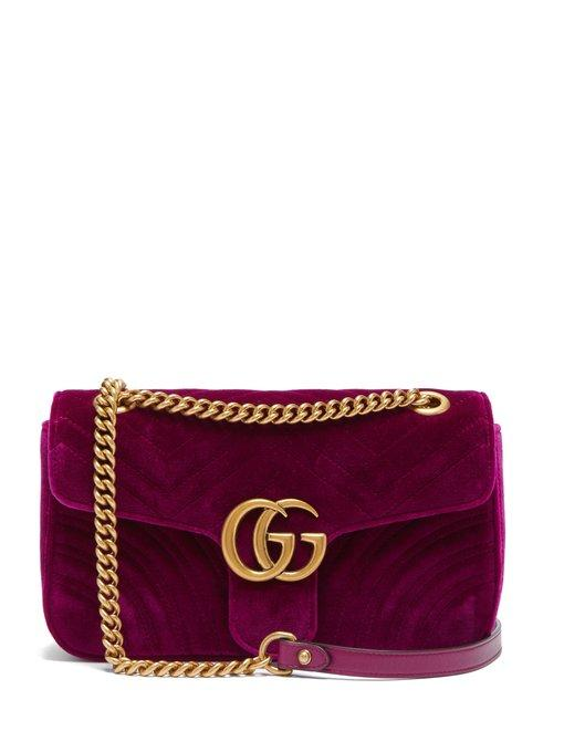 1b595c61e98 Gucci - Gg Marmont Small Quilted Velvet Cross Body Bag - Womens - Purple
