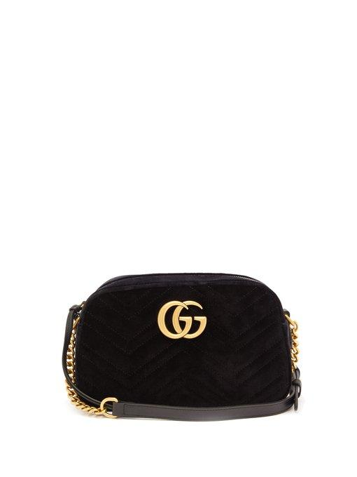 8582872e532 Gucci Gg Marmont Small Leather-Trimmed Quilted Velvet Shoulder Bag In Black