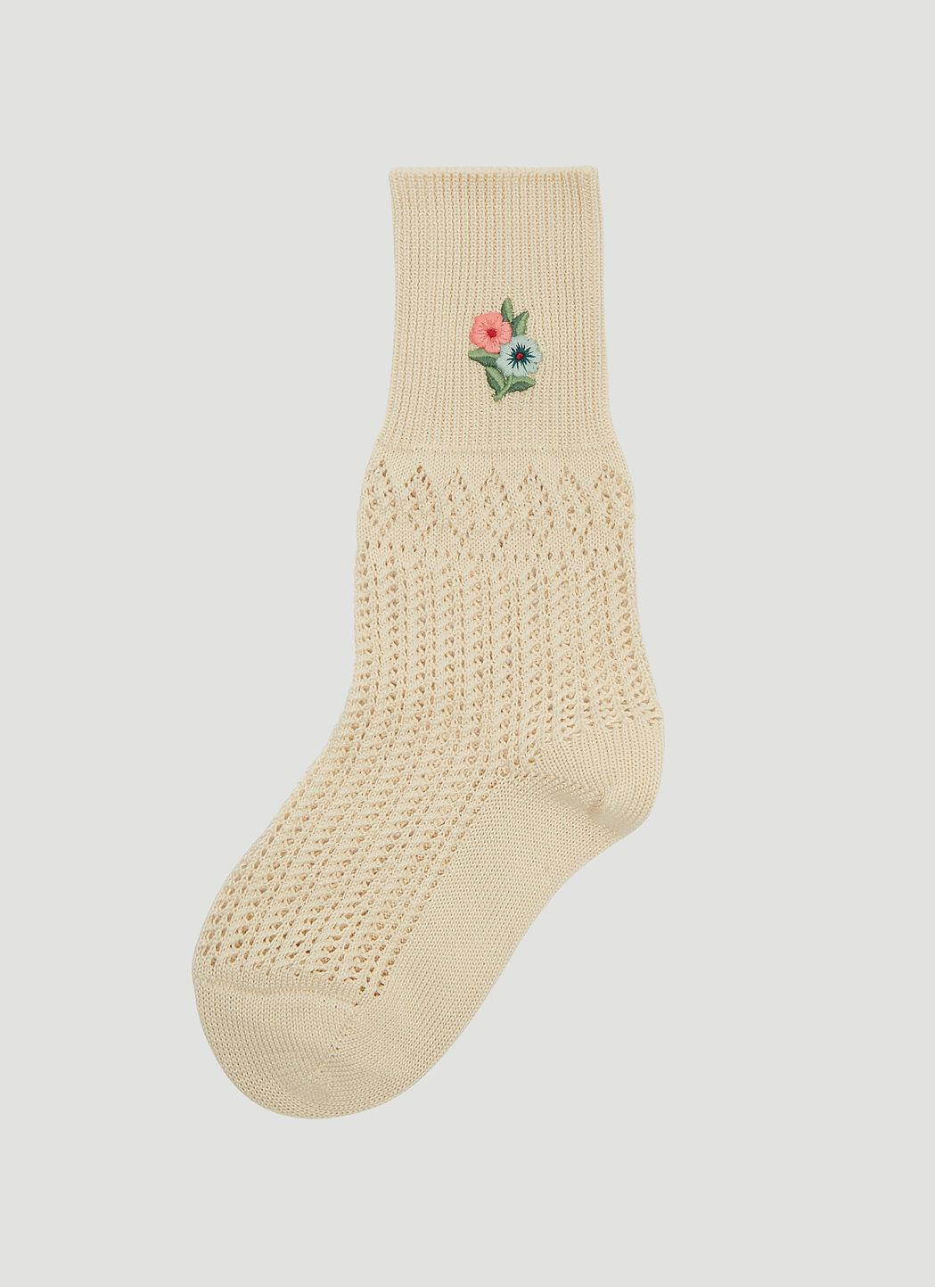 694decd38a1 Gucci Floral Embroidered Crochet Socks In Beige