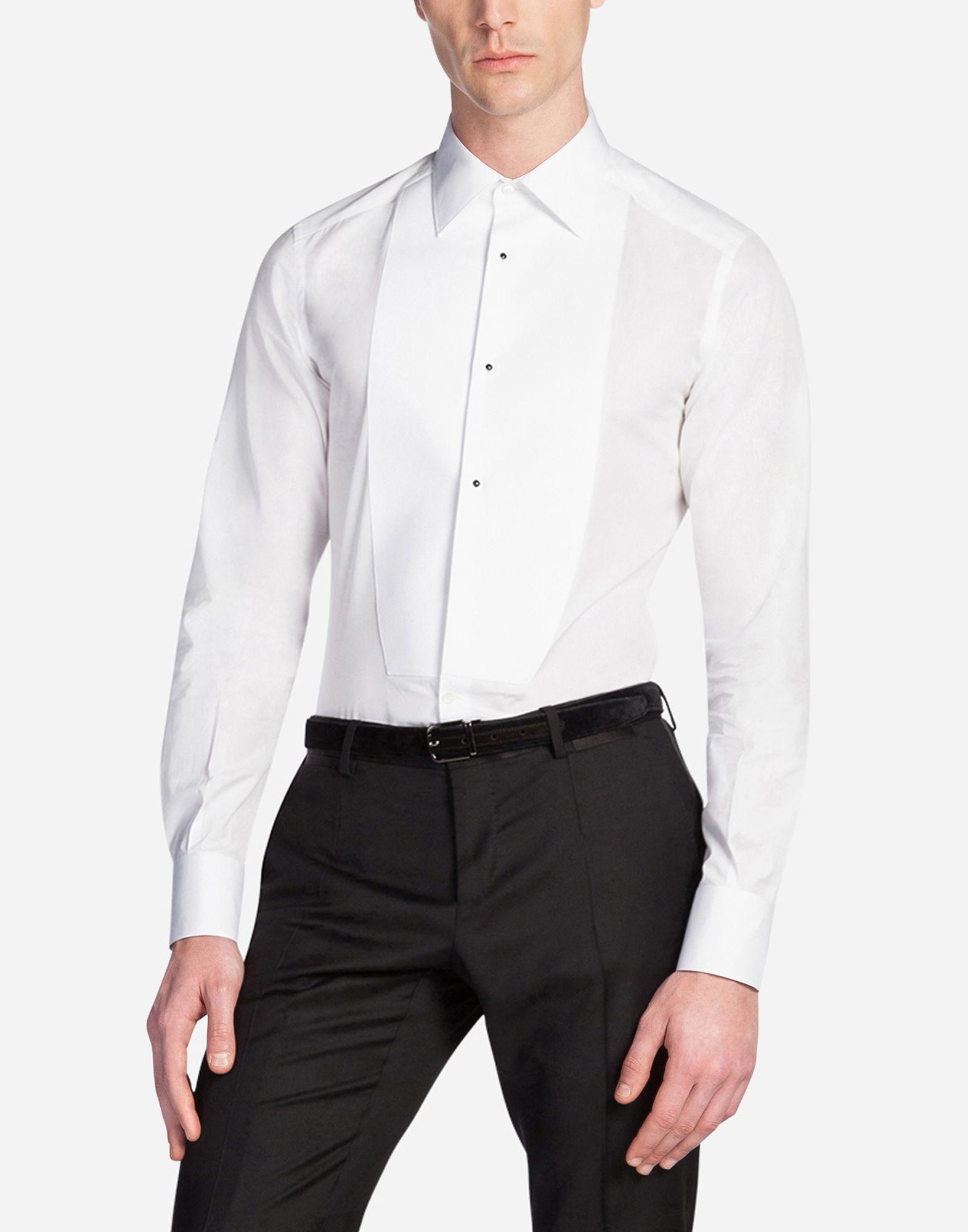 4106e934d29 Dolce & Gabbana Gold Fit Tuxedo Shirt In Cotton Poplin In White ...