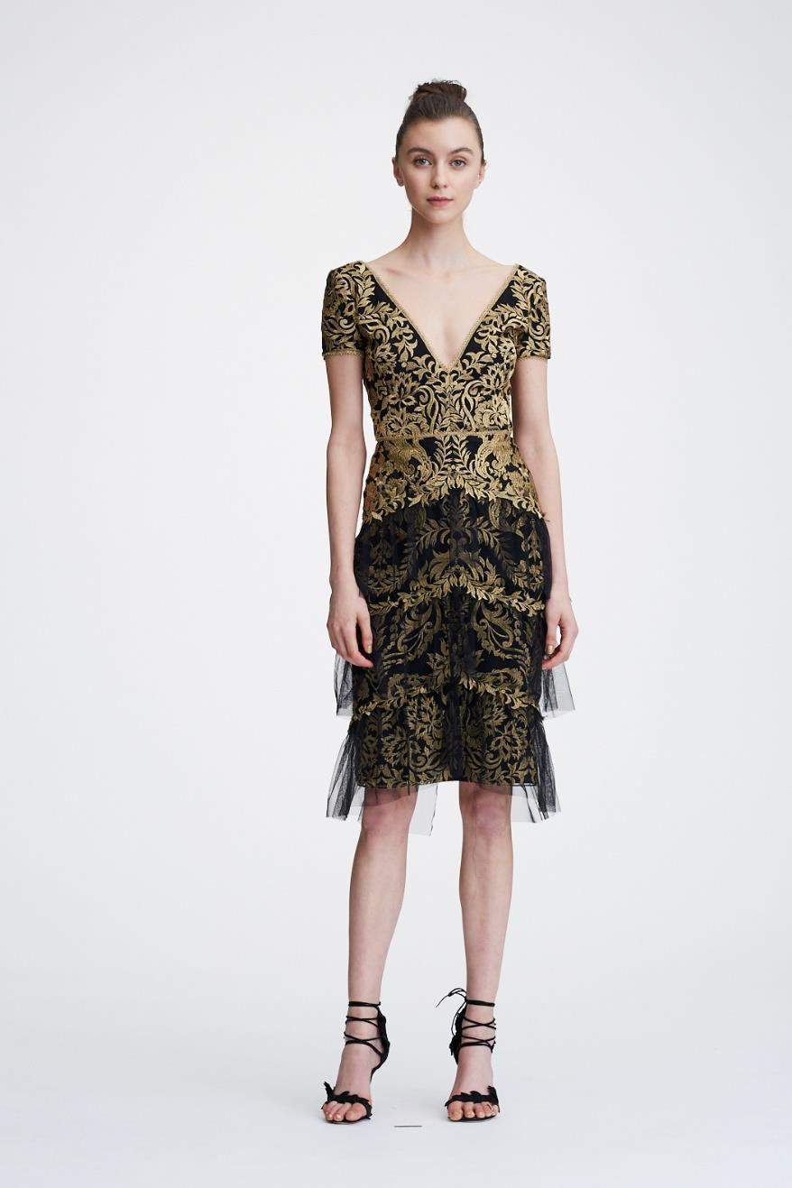 cfcefc08cbb Marchesa Notte Holiday 2018 Short Sleeve Metallic Embroidered Cocktail Dress  In Gold
