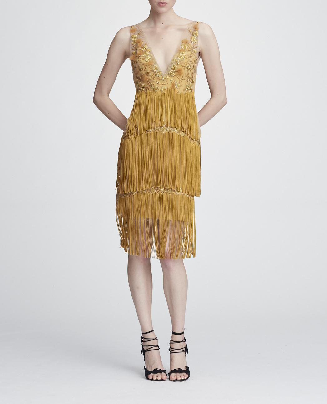 4f1448f6b01f Marchesa Notte Embellished Tiered Fringe Dress In Gold | ModeSens