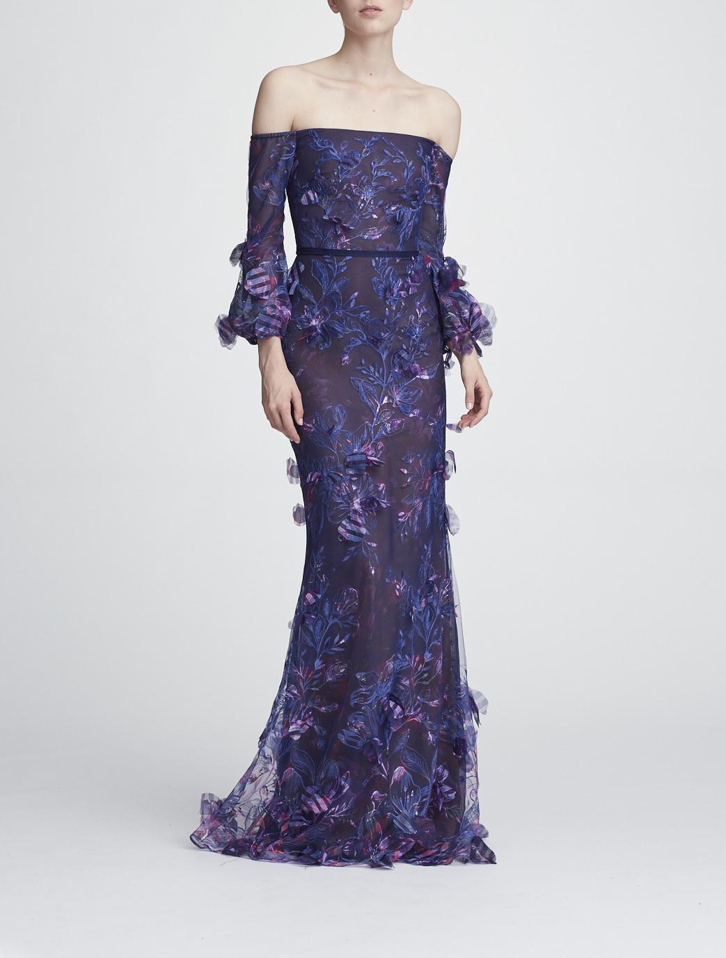 f4fbdcff Marchesa Notte Off The Shoulder Embroidered Gown In Navy | ModeSens