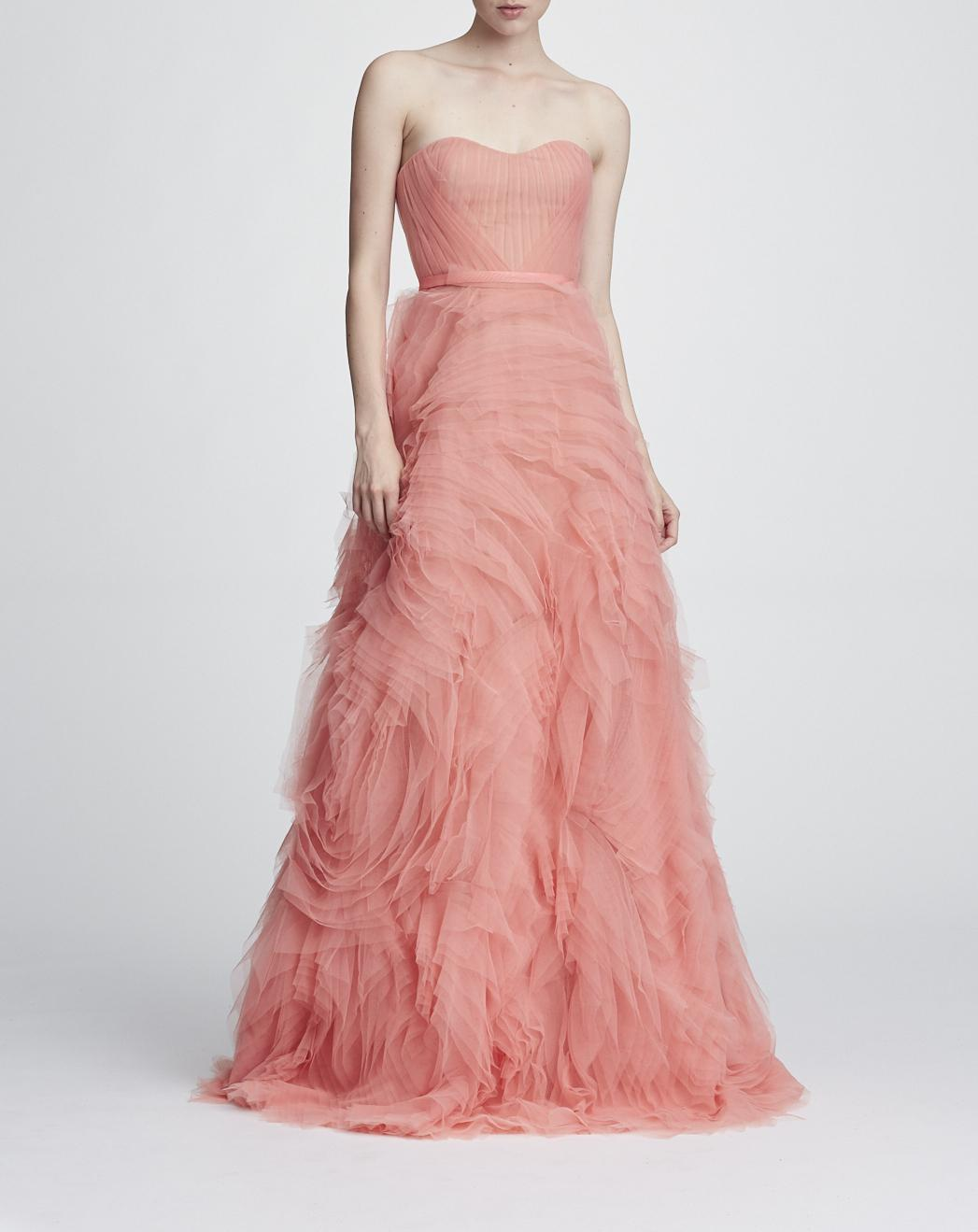 2d99e22281ca6 Marchesa Notte Strapless Textured Tulle Gown In Coral
