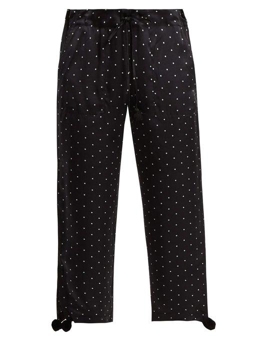 Figue – Fiore Polka-dot Silk-satin Wide-leg Pants – Navy