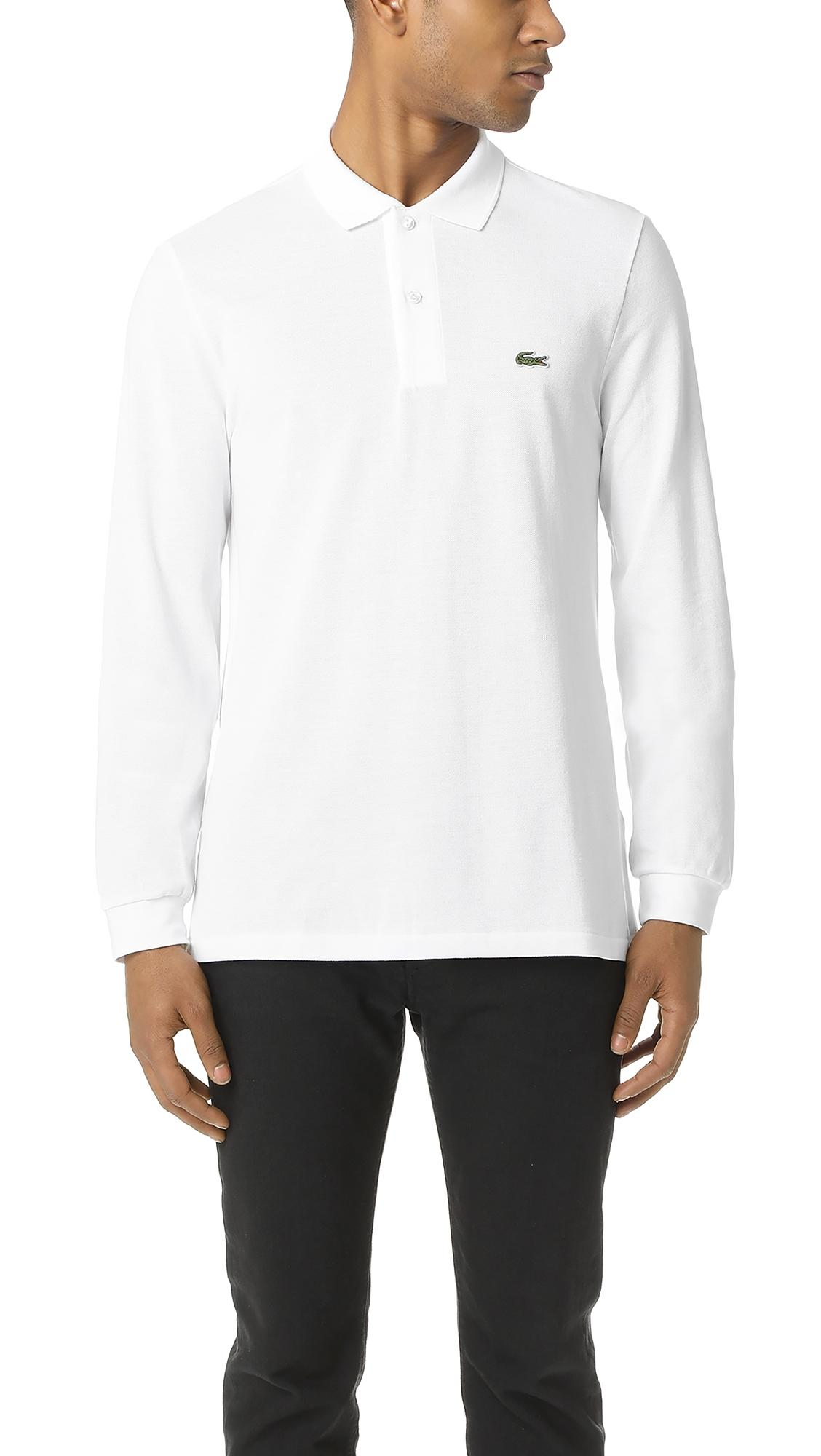 99712ab1 Long Sleeve Classic Pique Polo in White