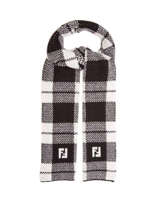1730dbf0f2e Fendi Reversible Wool Scarf In Black White